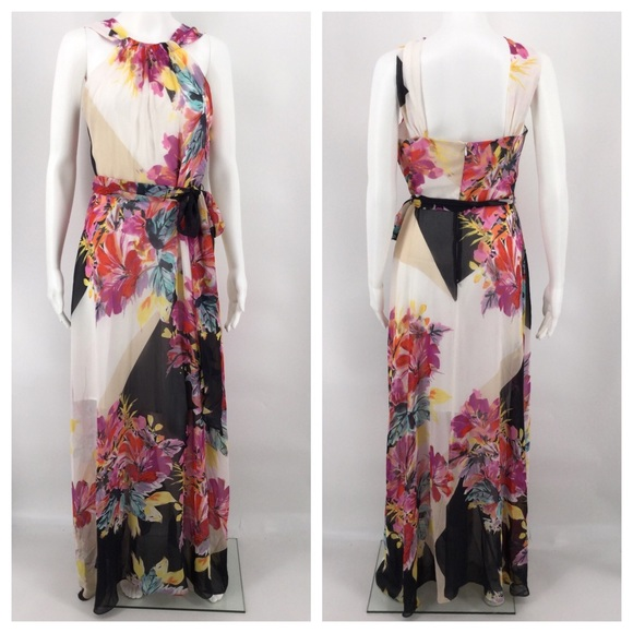 Muse Dresses & Skirts - MUSE Dress 6 Floral Chiffon Maxi Black White Red